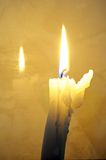 White candle with reflection. Royalty Free Stock Photo