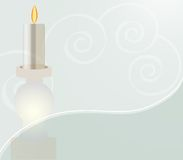 White Candle on Swirled Design. Illustration of a white candle and a stylized swirl background. Has a romantic soft look Royalty Free Stock Photo