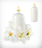 White candle and white flowers. Vector icons, isolated on white background Royalty Free Stock Photo