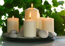White candles stock photography