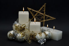 Free White Candles And One Star. Stock Photos - 15601643