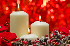 White candles in autumn winter decoration Stock Images