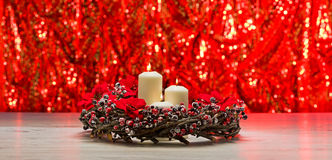White candles in autumn winter decoration Royalty Free Stock Photos