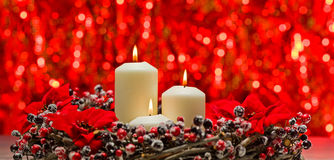 White candles in autumn winter decoration Stock Photography
