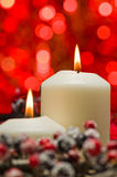 White candles in autumn winter decoration Stock Image