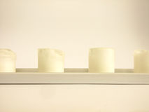 White Candles. In low Candlestick in white Background Royalty Free Stock Photos