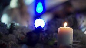 White candles at the party. Decorated stock footage