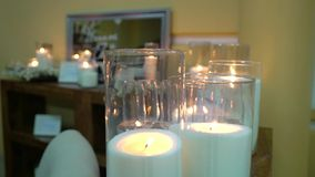 White candles at the party. Decorated stock video