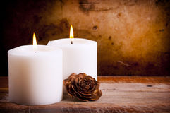 White Candles with Rose Royalty Free Stock Photos