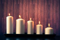 White candles on warm atmosphere Stock Images
