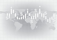White candlestick chart showing trend vector background Stock Photography