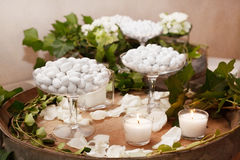 White candy buffet. Wedding white candy buffet for guest stock image
