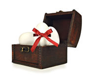 White candy easter eggs in a chest Stock Photo
