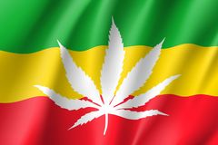 White cannabis leaf red on rasta flag background. White cannabis leaf on rasta flag background, realistic waving banner. Vector illustration of a symbol of Stock Photography