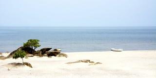 White Canoe on the Beach. Of Lake Malawi, Malawi, Africa royalty free stock photography