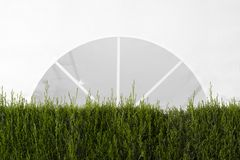 White canopy tent in a garden decorated with some plants and brushes for a event. Empty copy space. For Editor`s text royalty free stock photography