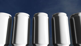 White cans against sky at sunset. Soft drinks or beer for party. Beach bar. 3D rendering. Generic white cans at sunset. Soft drinks or beer for party. Beach bar Stock Photos