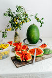 White cantaloupe and watermelon sliced on the table. Eating appe Royalty Free Stock Photos