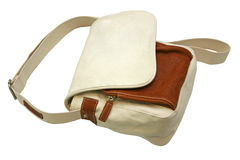 White canvas bag. Isolated on white Royalty Free Stock Images