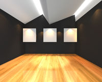 White canvas on black wall Royalty Free Stock Photos