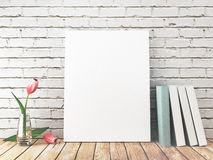 White canvas with books and flowers, 3d render Royalty Free Stock Images