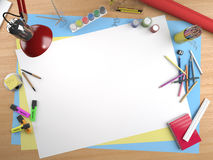 White canvas copy space. White canvas on a drawing table with lots of stationery objects making a center copy space for you text or design vector illustration