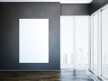 White canvas on dark wall in modern interior. 3d rendering Stock Photography