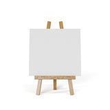 White canvas on an easel isolated on white background. 3d render of white canvas on an easel isolated on white background Stock Photos
