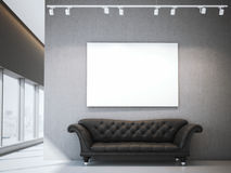 White canvas and luxury sofa in modern interior. 3d rendering Royalty Free Stock Image
