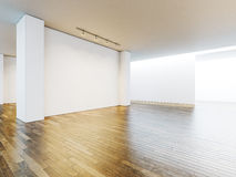 White canvas in museum interior with wooden floor Royalty Free Stock Photography