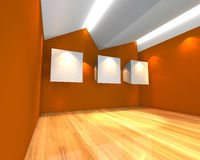 White canvas on orange wall Stock Image