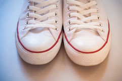 White canvas shoes Stock Photos
