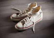 White canvas sneakers Royalty Free Stock Images