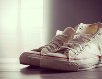 White canvas sneakers Stock Photography