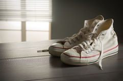White canvas sneakers Royalty Free Stock Photo