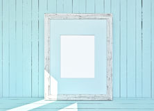White canvas on wooden plank blue background Stock Image