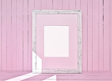 White canvas on wooden plank pink background Stock Photo