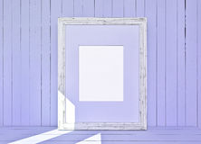 White canvas on wooden plank violet background Royalty Free Stock Images
