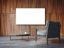 White canvas on the wooden wall. 3d rendering Stock Photo