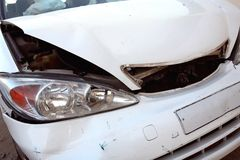 White car after accident Stock Photos