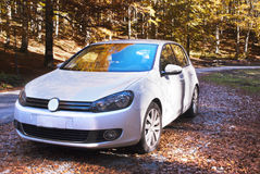 White car and autumnal forest Royalty Free Stock Photo