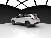 White car back. 3d render white car studio royalty free illustration