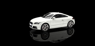 White Car In Black Showroom Royalty Free Stock Image