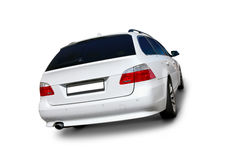 White car BMW 5 Series. White BMW 5 Series car back view with realistic shadows - includes separate clipping paths for windows, car body, wheels, rims and tires Stock Photos