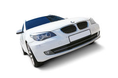 White car BMW 5 Series. White BMW 5 Series car front view with realistic shadows - includes separate clipping paths for windows, car body, wheels, rims and tires Stock Photos