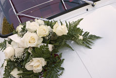 White car and bouquet stock image