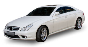 White car with clipping path. White luxury Mercedes with clipping path Royalty Free Stock Photos