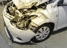 White car crash after accident And the engine condition inside t royalty free stock photo