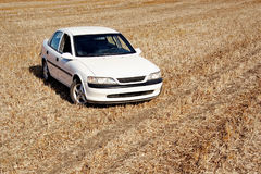 White car on field. Vintage white automobile on harvested field Royalty Free Stock Photos