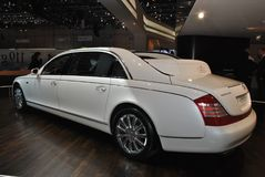Maybach 62 Landaulet. White car at Geneva Motorshow 2010.  In total, 8 units were made, one of which was owned by rapper Birdman Stock Photography